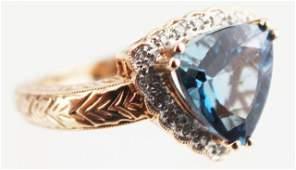LADIES 14K GOLD LONDON BLUE TOPAZ  DIAMOND RING