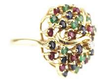 14K GOLD DIAMOND SAPPHIRE RUBY EMERALD RING