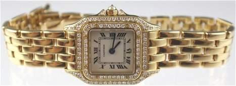 LADIES CARTIER PANTHERE 18K GOLD  DIAMOND WATCH