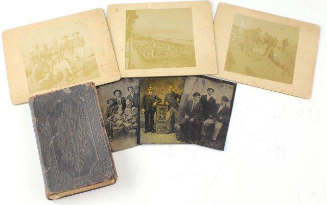 SMALL LOT OF 19TH CENTURY PHOTOS, TINTYPE & BIBLE
