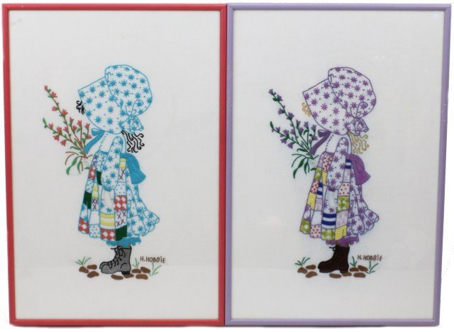 PAIR OF HOLLY HOBBIE EMBROIDERY WORKS