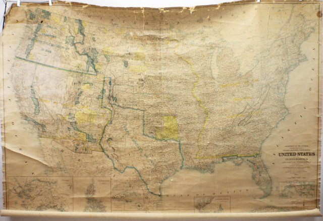 LARGE 1904 WALL MAP OF NORTH AMERICA