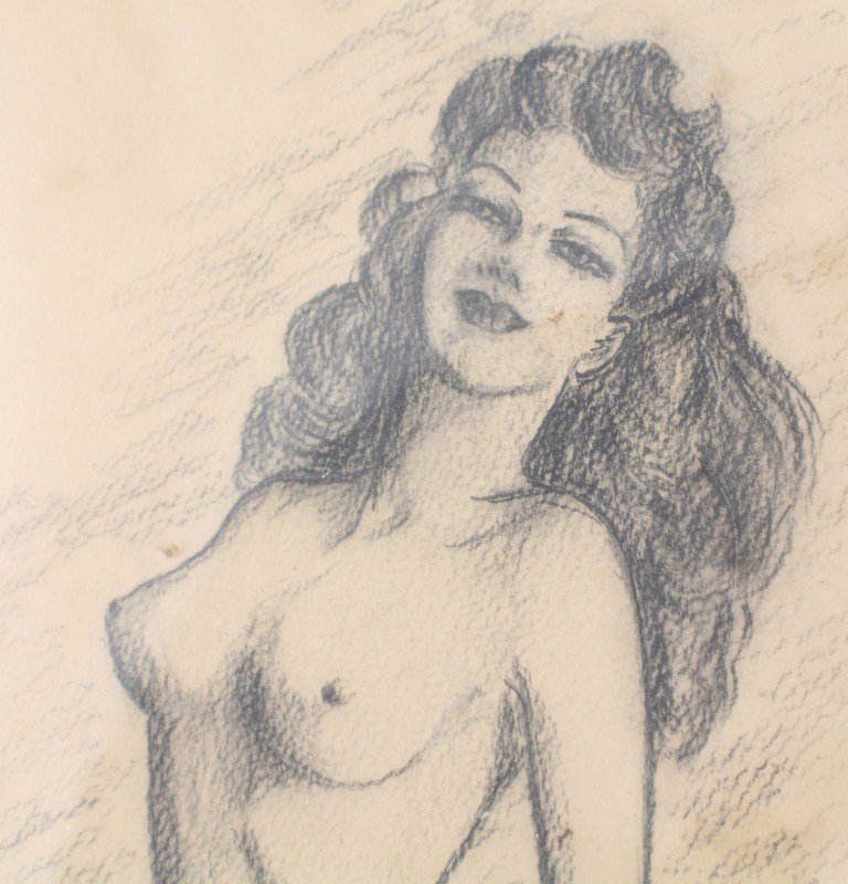 VINTAGE NUDE PIN UP GIRL SKETCH GRAPHITE ON PAPER - 3