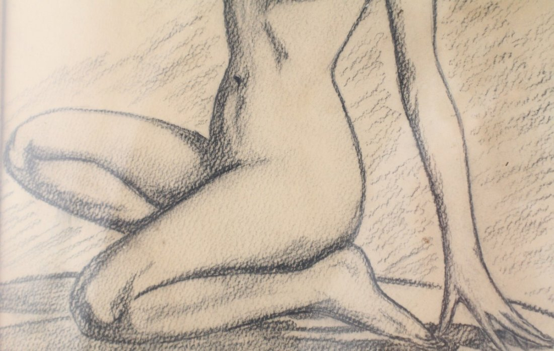 VINTAGE NUDE PIN UP GIRL SKETCH GRAPHITE ON PAPER - 4