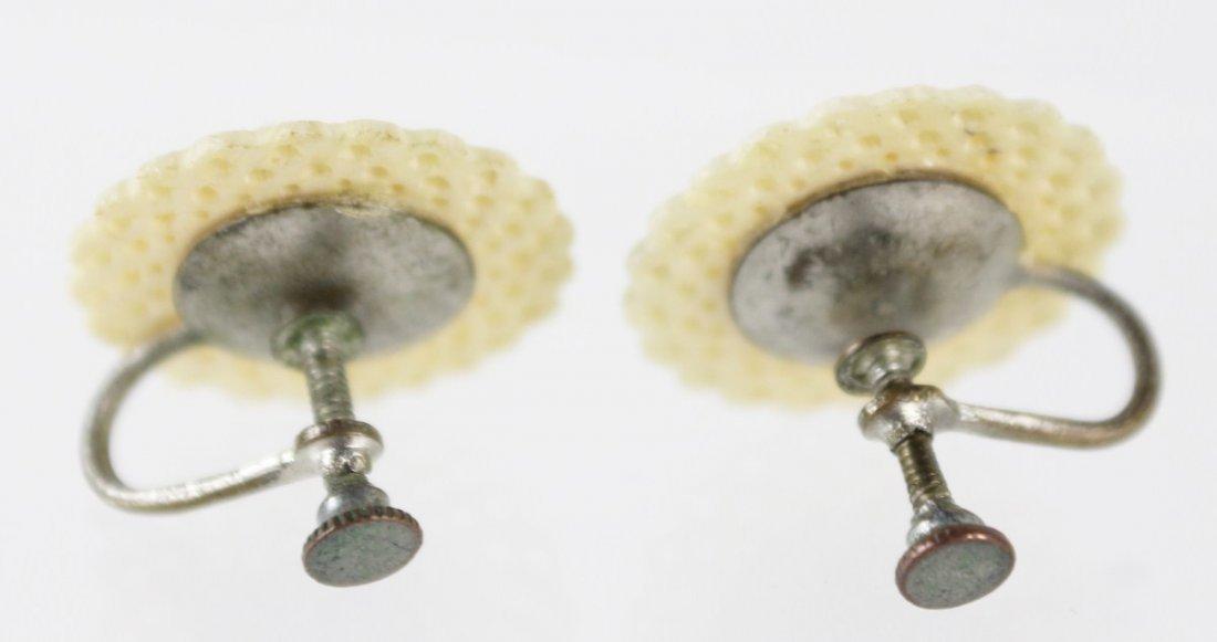 VINTAGE PAIR OF CARVED ELEPHANT IVORY EARRINGS - 2