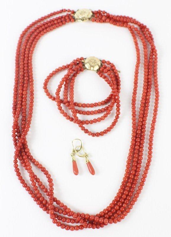 LADIES 14K RED CORAL NECKLACE, BRACELET & EARRINGS
