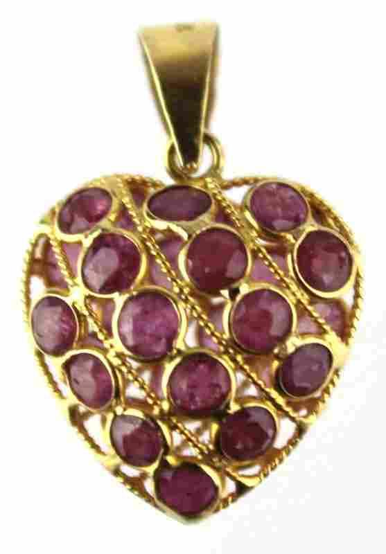 LADIES 18K GOLD RUBY HEART PENDANT