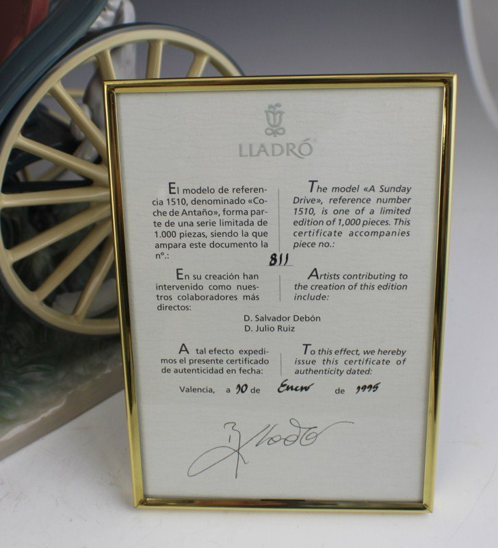 RETIRED LIMITED ED LLADRO A SUNDAY DRIVE 1510 - 5