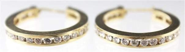 LADIES 14K HOOP DIAMOND EARRINGS 144 CTW