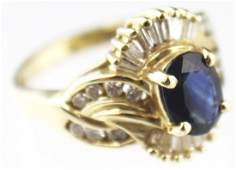 LADIES 14K GOLD SAPPHIRE  DIAMOND COCKTAIL RING