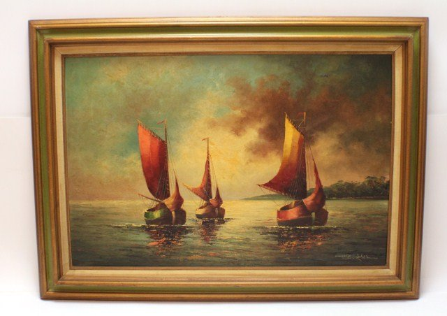 BECKMAN OIL ON CANVAS THREE SHIPS