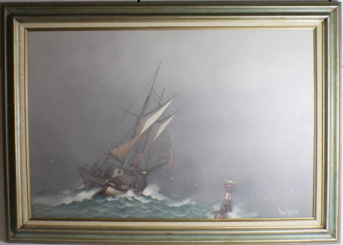 HENRY PARKER NAUTICAL PAINTING 1981