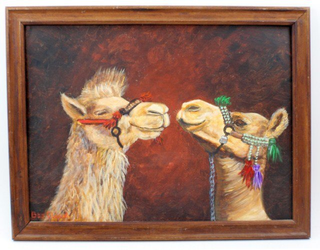 TWO LLAMAS BY BEE CLOUD - OIL ON BOARD