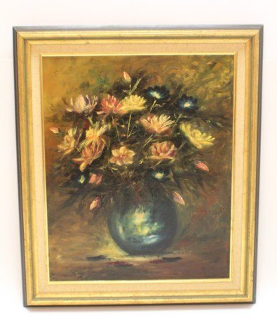 DE COSTES OIL ON BOARD FLORAL STILL LIFE