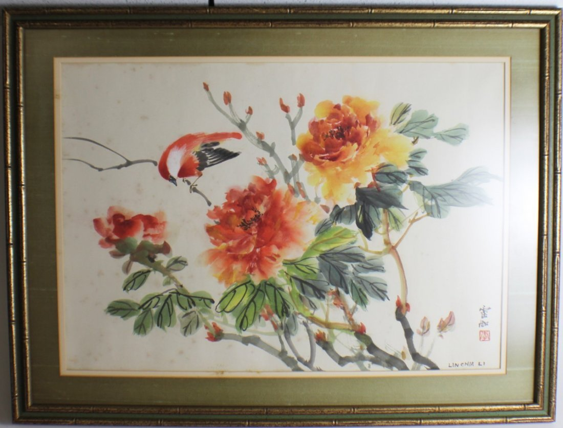 LINCHIA LI CHINESE WATERCOLOR BIRD WITH FLOWERS