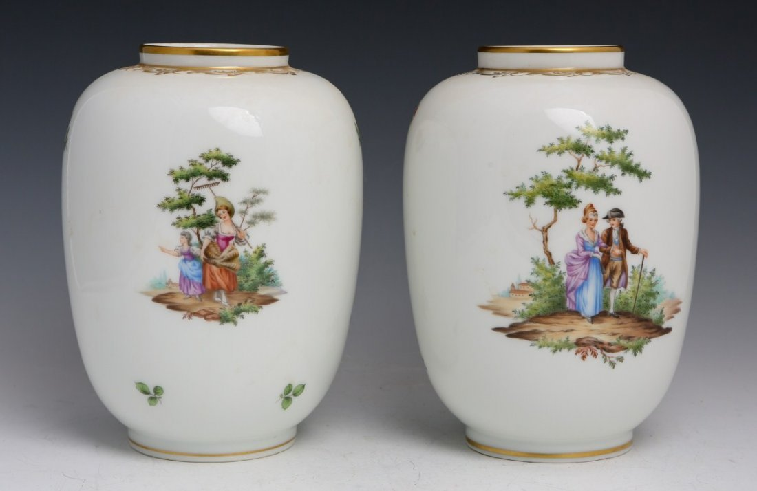 LOT OF 2 AUGARTEN WEIN PORCELAIN VASES