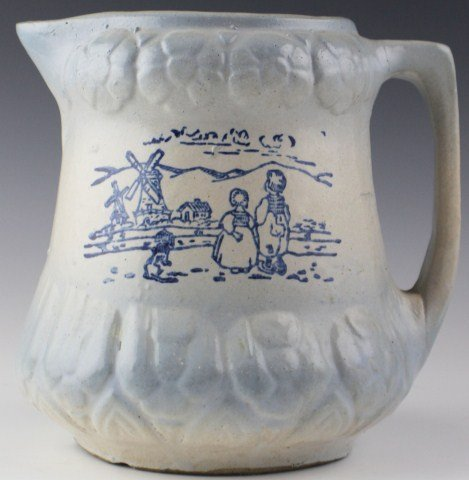 SALT GLAZE PITCHER WITH DUTCH SCENE