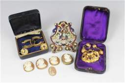 LOT OF CAMEOS COSTUME JEWELRY ENAMELED STAND