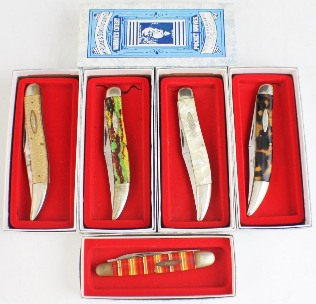 CASE XX 5 POCKET KNIVES AND BOXES