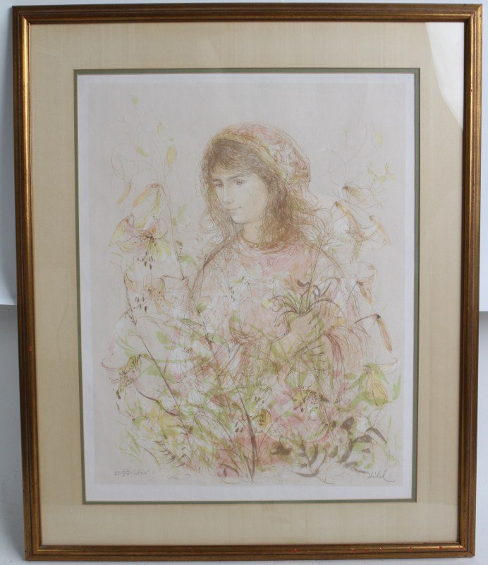 EDNA HIBEL SIGNED LITHOGRAPH GIRL WITH LILIES