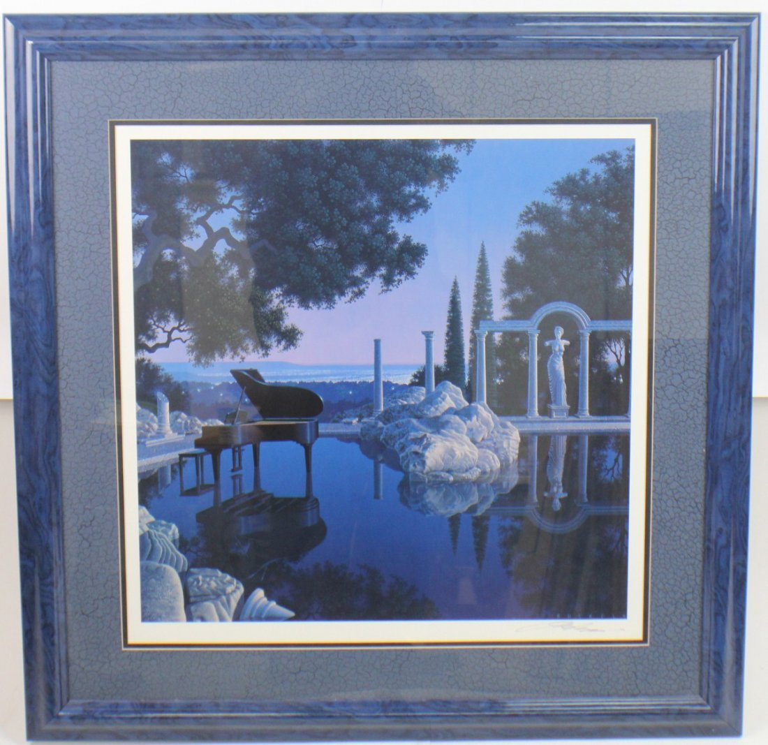 JIM BUCKELS BLUE RAIN LITHOGRAPH SIGNED