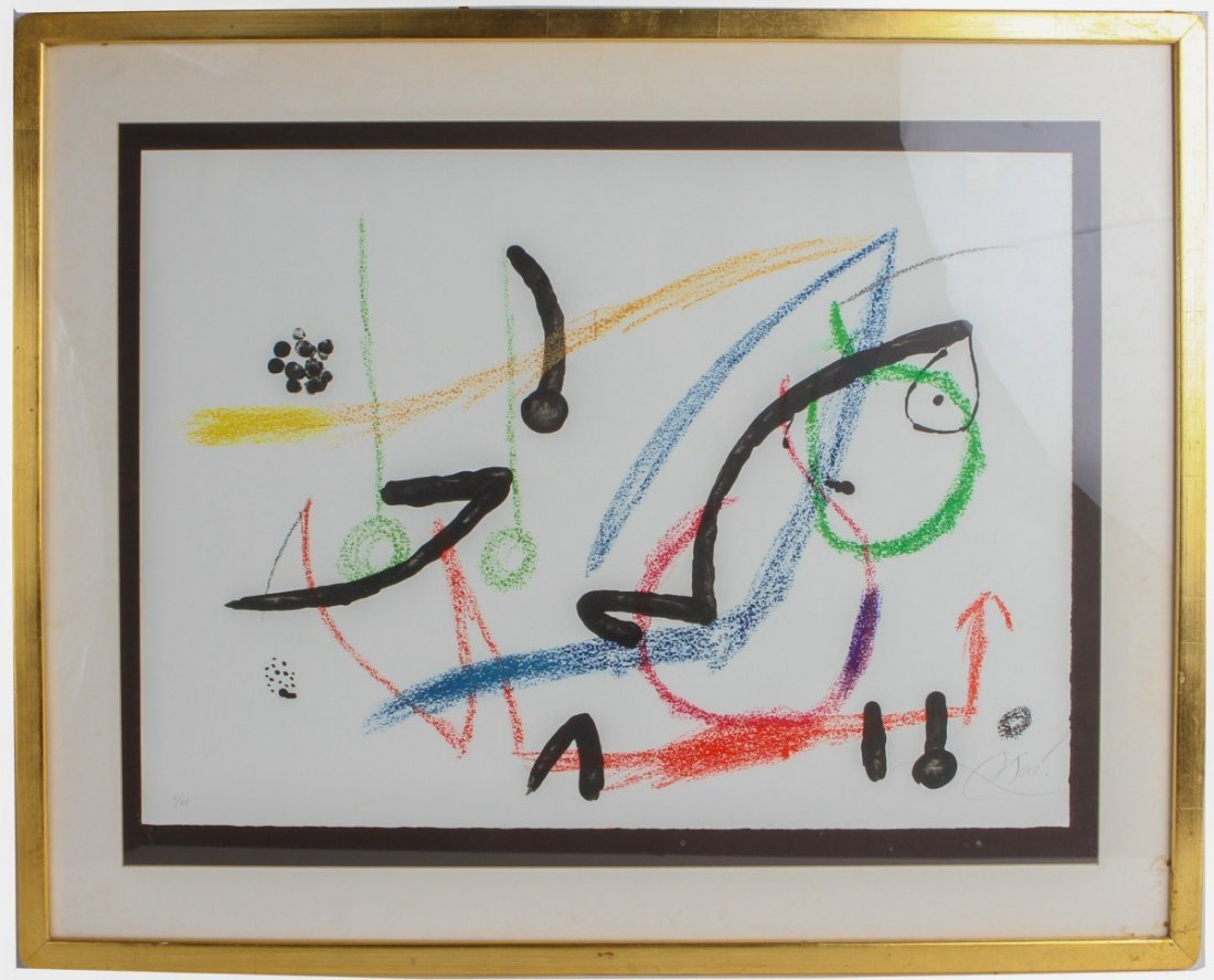 JOAN MIRO ABSTRACT COMPOSITION SIGNED 1974