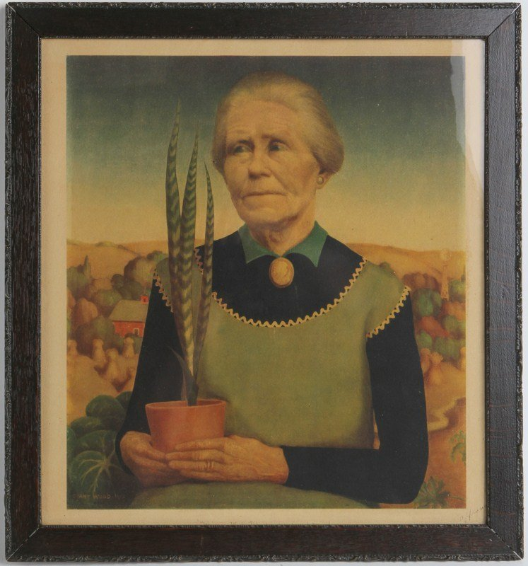 AFTER GRANT WOOD WOMAN WITH PLANT SIGNED IN PLATE