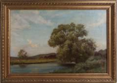 WILLIAM HENRY GORE ENGLISH RIVER LANDSCAPE