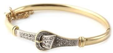 LADIES 14K GOLD AND DIAMOND BANGLE BRACELET