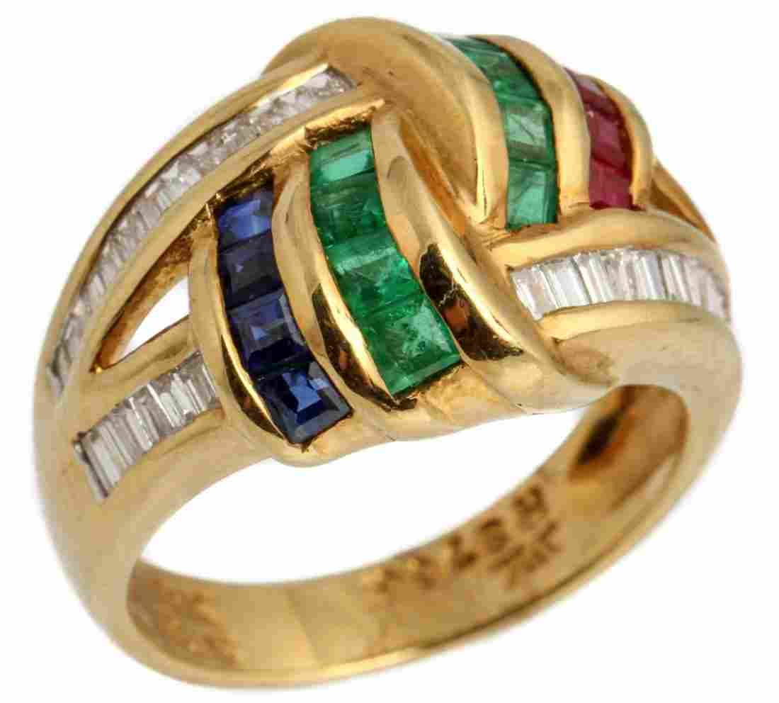 LADIES 18K GOLD DIAMOND RUBY EMERALD SAPPHIRE RING