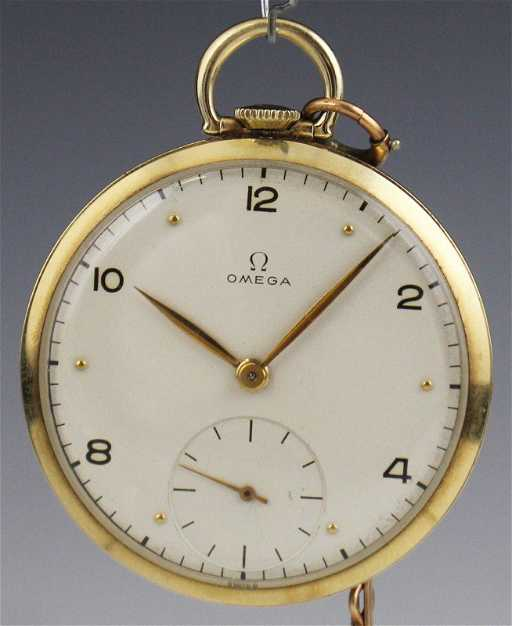 1945 14K OMEGA OPEN FACE POCKET WATCH 17 JEWEL. See Sold Price 4148948b6b