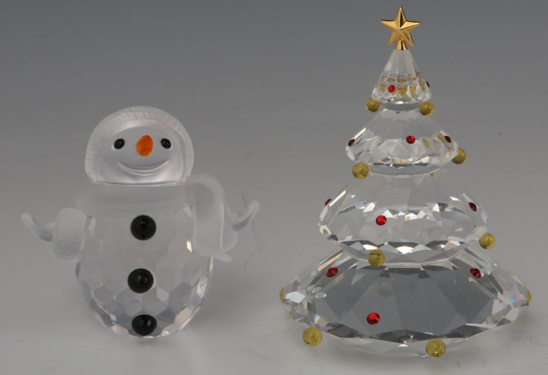LOT OF SWAROVSKI 1 CHRISTMAS TREE & 1 SNOWMAN