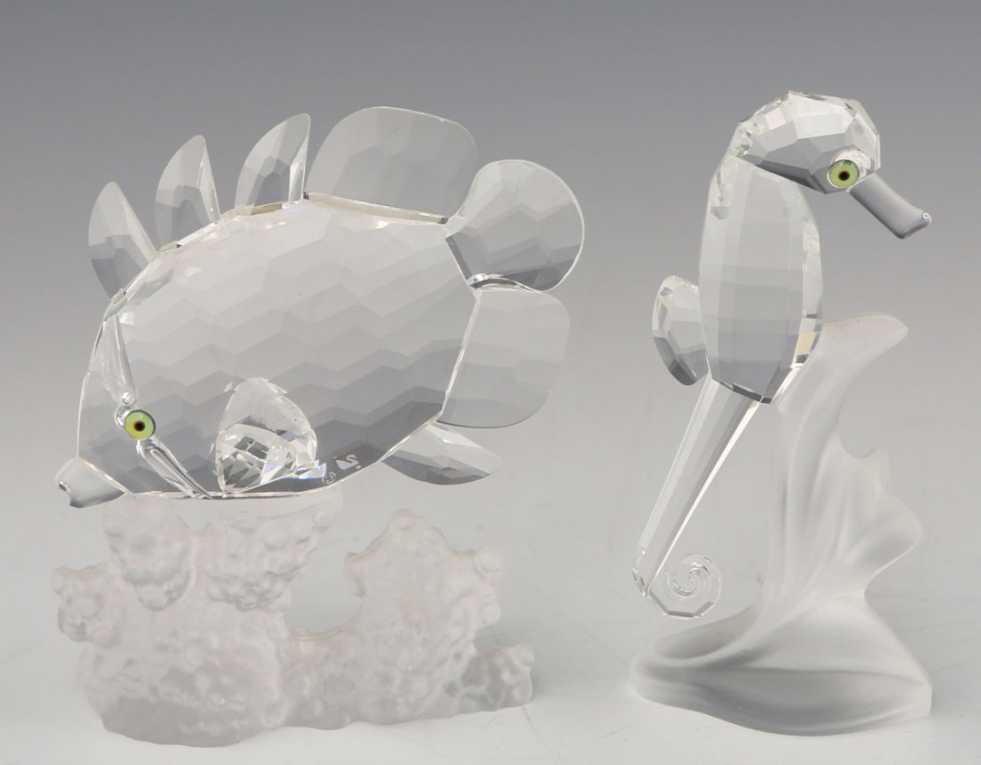 LOT OF TWO AQUATIC SWAROVSKI CRYSTAL FIGURINES