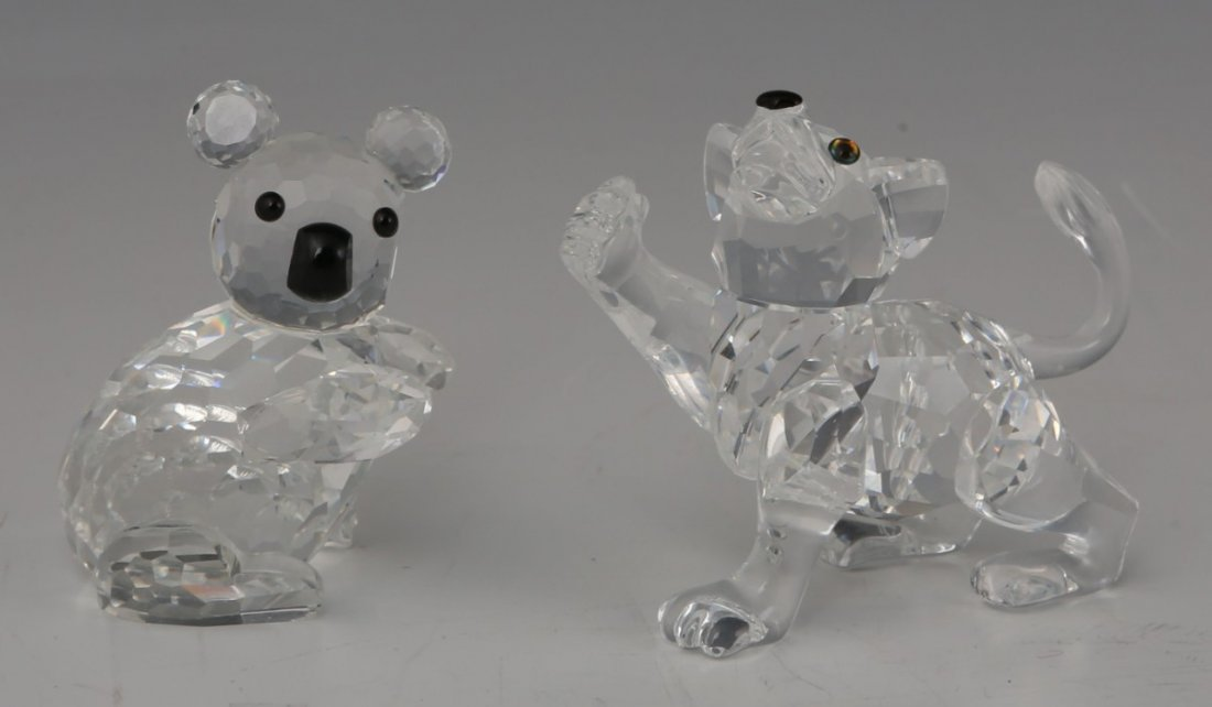 LOT OF TWO SWAROVSKI FIGURINES LION CUB AND KOALA