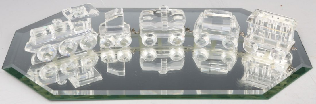 SWAROVSKI CRYSTAL TRAIN SET WITH MIRROR DISPLAY