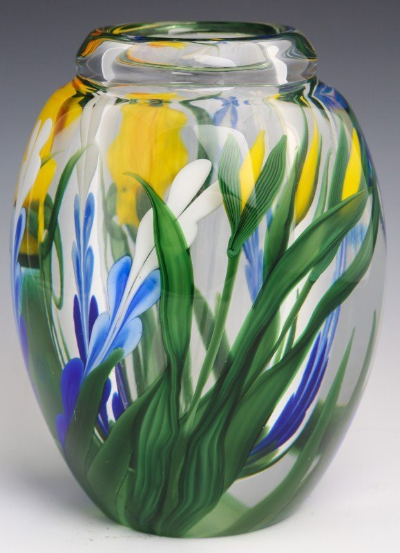 STEVEN LUNDBERG ART GLASS DAFFODIL VASE - SIGNED - 2