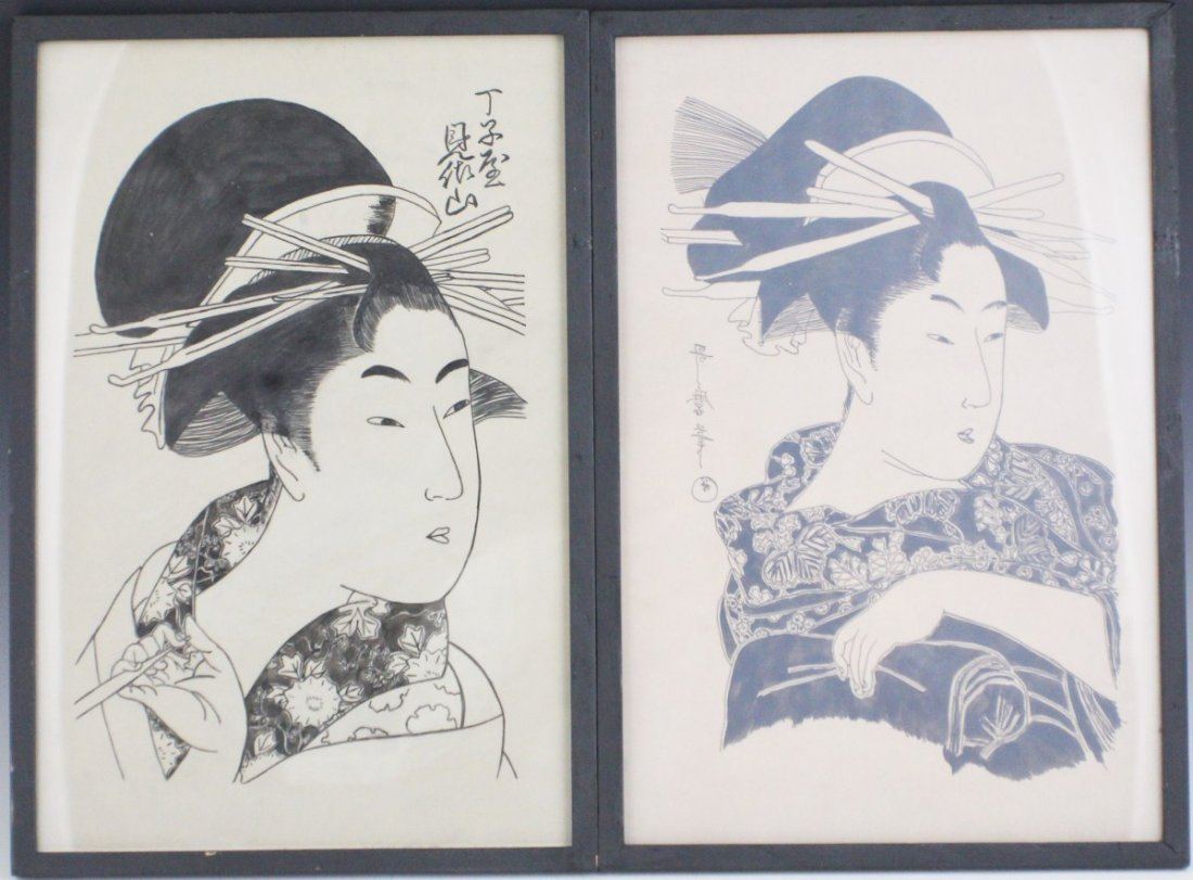 JAPANESE PEN AND INK TWO KABUKI FIGURES