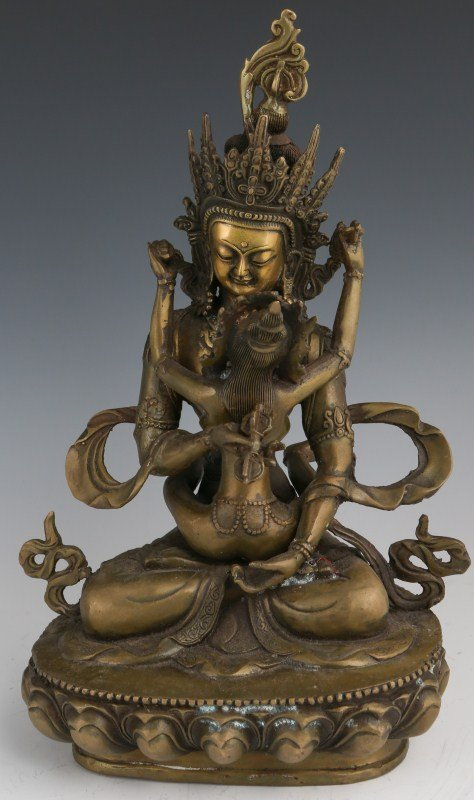 INDIAN BRONZE STATUE OF THE LOVERS SHIVA & PARVATI