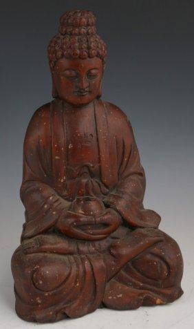 CARVED WOOD INDIAN BUDDHA FIGURE