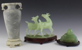 LOT OF THREE CARVED ASIAN ITEMS JADE AND SOAPSTONE