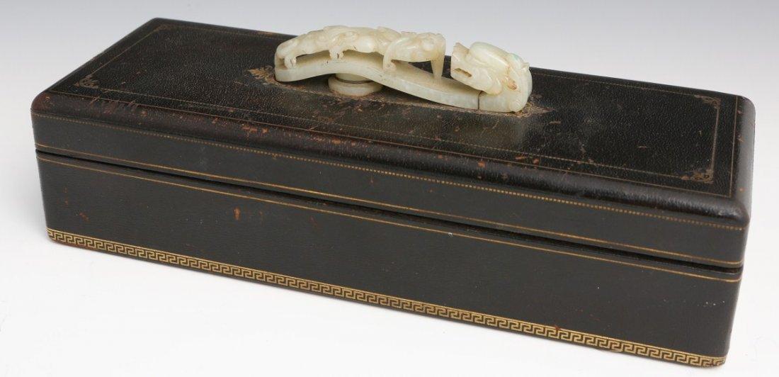 CIGARETTE BOX W/ CHINESE CELADON JADE BELT BUCKLE
