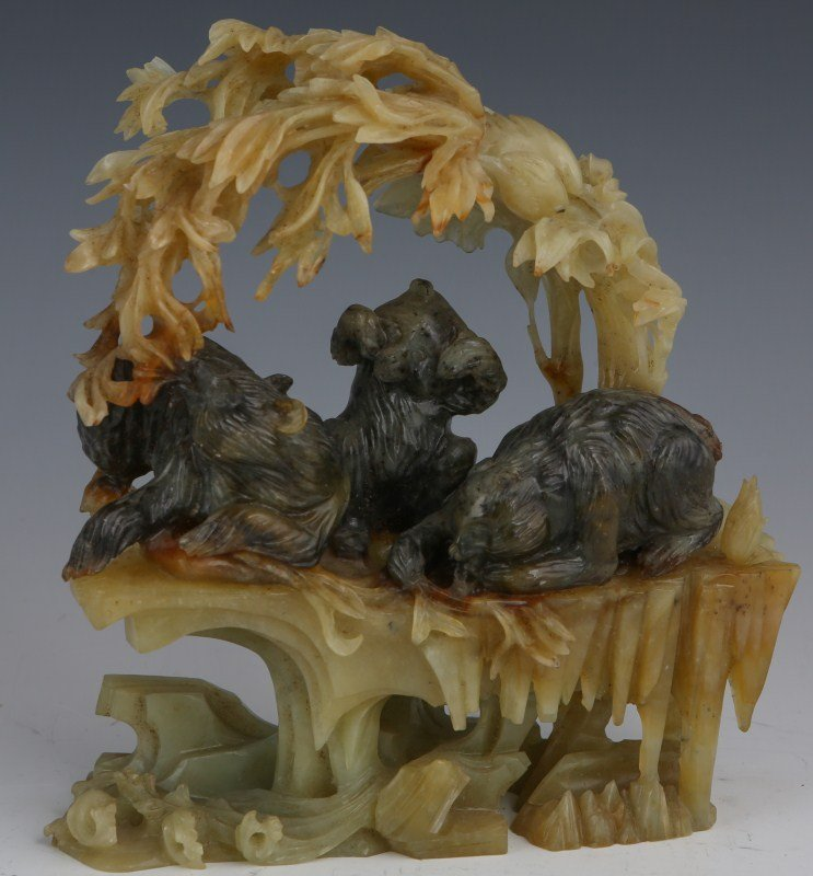 ORNATE CHINESE JADEITE CARVING OF BEARS AT PLAY