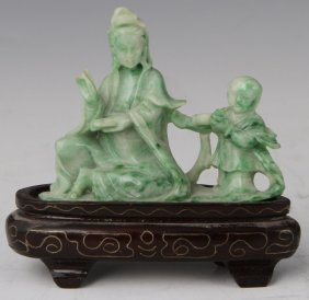 CHINESE CARVED APPLE JADE QUAN YIN AND CHILD