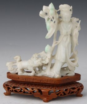 CHINESE CARVED JADE FIGURE LADY AND LION