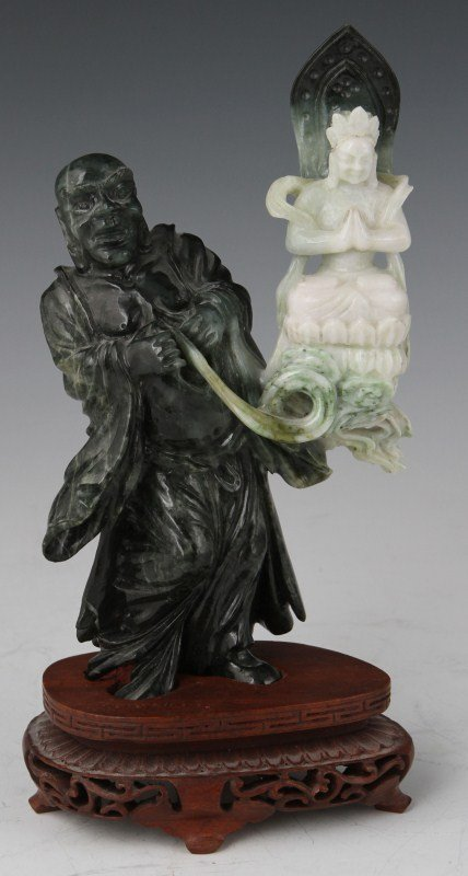 CHINESE CARVED SPINACH JADE BUDDHA FIGURE