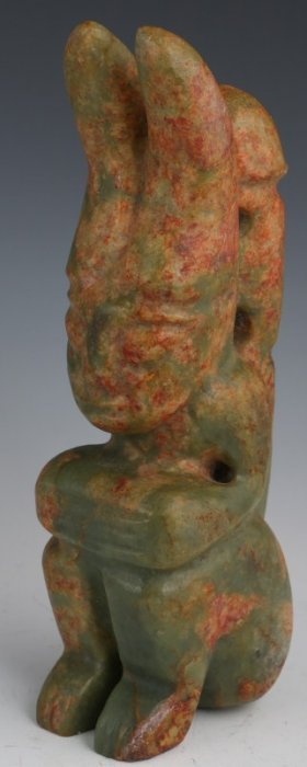 A LARGE CHINESE JADE CARVED MYTHICAL CREATURE