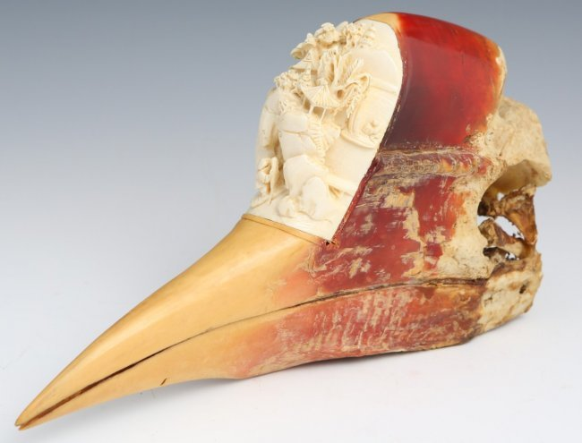 CHINESE 19TH CENTURY HORNBILL CASQUE W/ IVORY