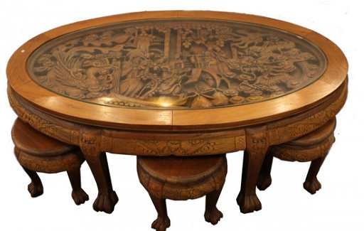 Asian Dragon Hand Carved Coffee Table W 6 Stools