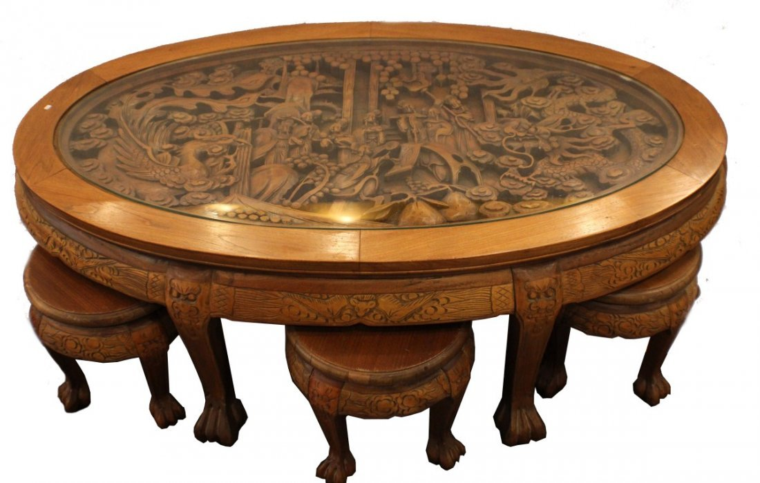 ASIAN DRAGON HAND CARVED COFFEE TABLE W/ 6 STOOLS