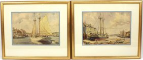 TWO FRAMED PRINTS GORDON GRANT BOAT SCENES